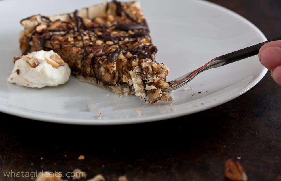 Chocolate tart on fork
