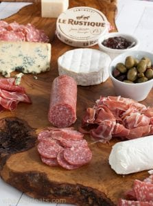 charcuterie board with olives