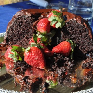 avocado chocolate cake (GF) with avocado creme anglais