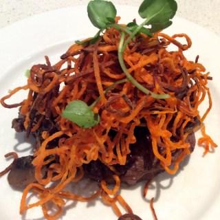eye fillet, mushrooms and sweet potato crisps (AIP/paleo)