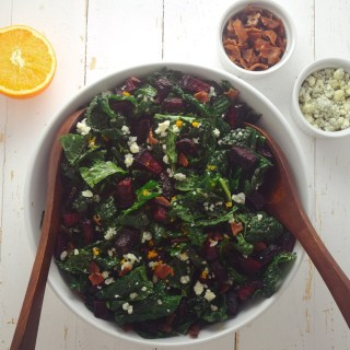 Winter Kale Salad with Roasted Beets + Bright Orange Vinaigrette