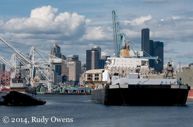 Seattle's skyline is seen from the Port of Seattle, south of downtown (2014).