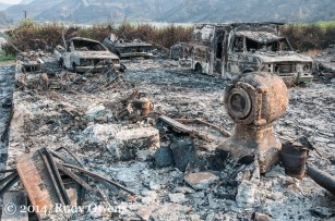 One can see some of the dozens of burned structures in the Methow Valley, like this, driving north from Pateros to Twisp.