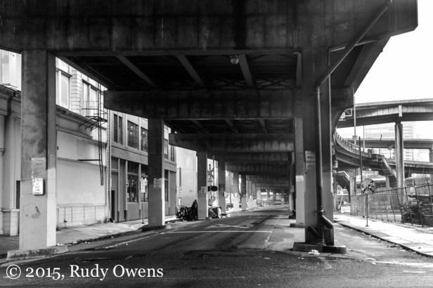 Home sweet underpass in Portland's eastside industrial area.