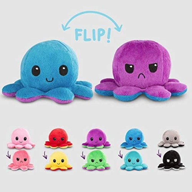 TeeTurtle, The Original Reversible Octopus Plush, Show Your Mood Without Saying A Word!