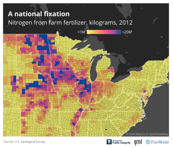 A map of the Midwest showing nitrogen from farm fertilizer in kilograms from 2012. High concentrations appear along the Mississippi River.