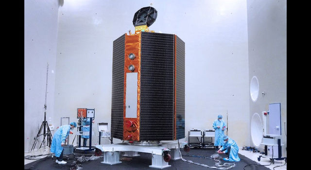 slide 1 - Mission team members perform acoustic tests of the Sentinel-6 Michael Freilich satellite