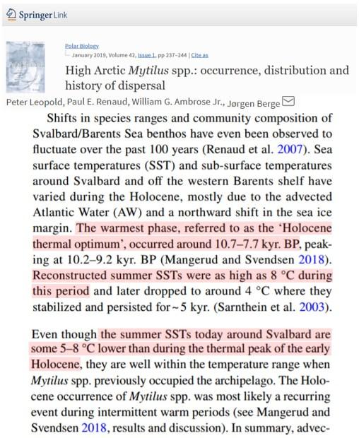 warmth demanding species glacier melt measurements affirm early holocene svalbard was 7c warmer than now 1 - Warmth-Demanding Species, Glacier Melt Measurements Affirm Early Holocene Svalbard Was 7°C Warmer Than Now