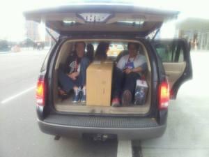 crew in car