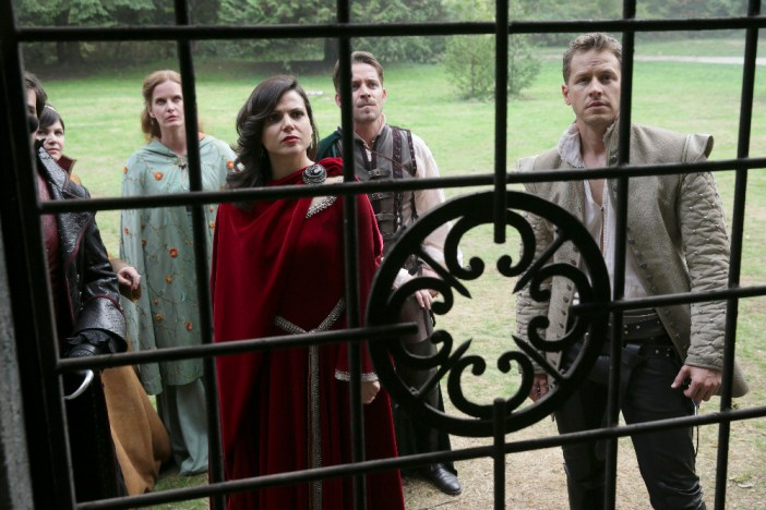 "ONCE UPON A TIME - ""Nimue"" - In Camelot, Merlin spearheads a mission to reunite the dagger with Excalibur so he can use the weapon to save Emma from the darkness threatening her soul. With Zelena in tow, Hook, Mary Margaret, David, Regina and Robin steal into Arthur's castle to take the broken sword from the maniacal king. Meanwhile, Merlin brings Emma along on a journey to confront his ancient nemesis and retrieve the sacred spark he'll need to reforge Excalibur. Both parties are tested, but one suffers a blow that could derail the entire operation. In a flashback to long before the Age of Arthur, young Merlin finds purpose after he is blessed with magic and immortality, but when he falls in love with a young refugee named Nimue, everything changes for Merlin, as their romance starts a chain of events that touches every one of our present day heroes, on ""Once Upon a Time,"" SUNDAY, NOVEMBER 8 (8:00-9:00 p.m., ET) on the ABC Television Network. (ABC/Jack Rowand) COLIN O'DONOGHUE, GINNIFER GOODWIN, REBECCA MADER, LANA PARRILLA, SEAN MAGUIRE, JOSH DALLAS"