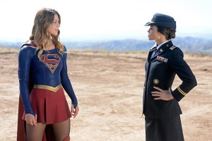 """Red Faced"" -- Personal and professional stress get the better of Kara when she goes too far during a training exercise against Red Tornado, a military cyborg commissioned by Lucy Lane's father, General Sam Lane, on SUPERGIRL, Monday, Nov. 30 (8:00-9:00 PM, ET) on the CBS Television Network. Pictured left to right: Melissa Benoist and Jenna Dewan-Tatum Photo: Darren Michaels/CBS ©2015 CBS Broadcasting, Inc. All Rights Reserved"