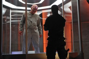 """Human For a Day"" -- Alex's mistrust of Hank reaches a breaking point when the earthquake traps them in the DEO with Jemm (Charles Halford), a powerful alien escapee, on SUPERGIRL, Monday, Dec. 7 (8:00-9:00 PM, ET/PT) on the CBS Television Network. Pictured left to right: Charles Halford and David Harewood Photo: Darren Michaels/Warner Bros. Entertainment Inc. © 2015 WBEI. All rights reserved."
