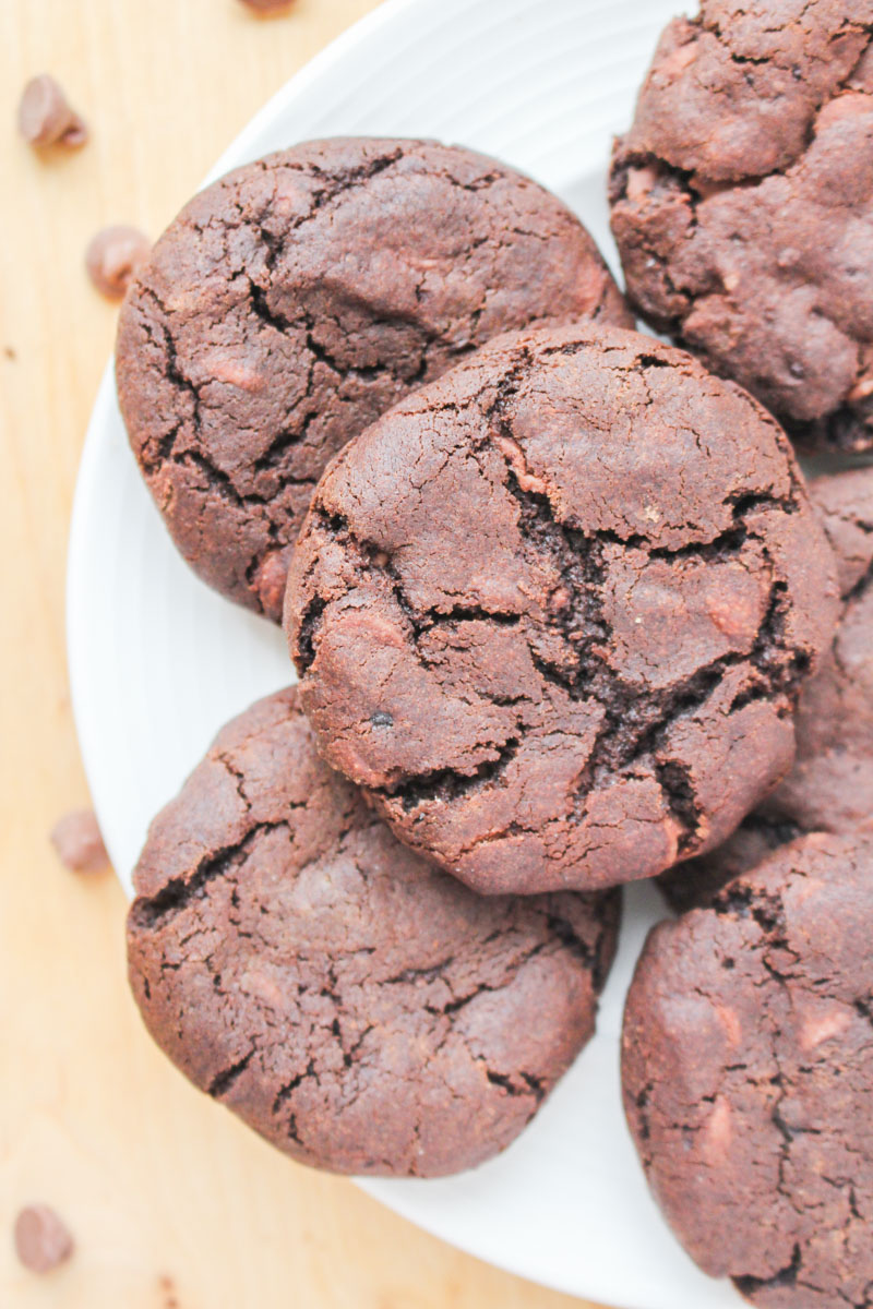 Double Chocolate Chip Cookies - fudgy chocolate cookies, packed with tonnes of milk chocolate chips.
