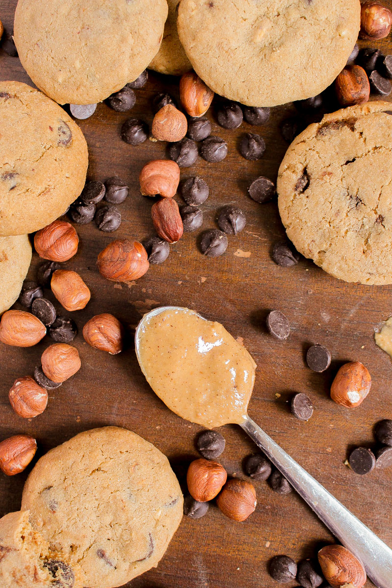 Chocolate Hazelnut Cookies - made with chopped hazelnuts and hazelnut butter to make these cookies extra nutty, as well as some dark chocolate chips. The best cookies you'll ever make! And no chilling needed.