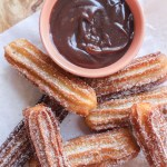 Churros with Chocolate Peanut Butter Sauce