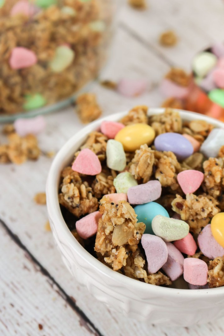 Lucky Charms Granola - Honey Baked Granola, topped with Marshmallows and White Chocolate M&Ms | What Charlotte Baked