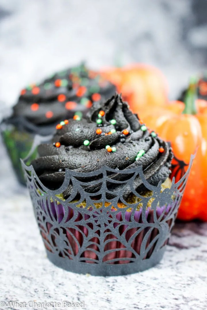 Marble Halloween Cupcakes with Black Frosting recipe | What Charlotte Baked