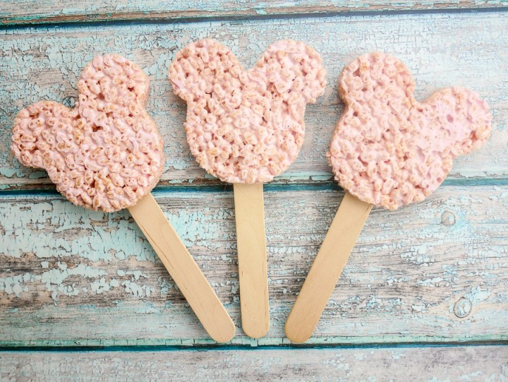 Marshmallow Rice Krispies Mickey Mouse Pops recipe   What Charlotte Baked