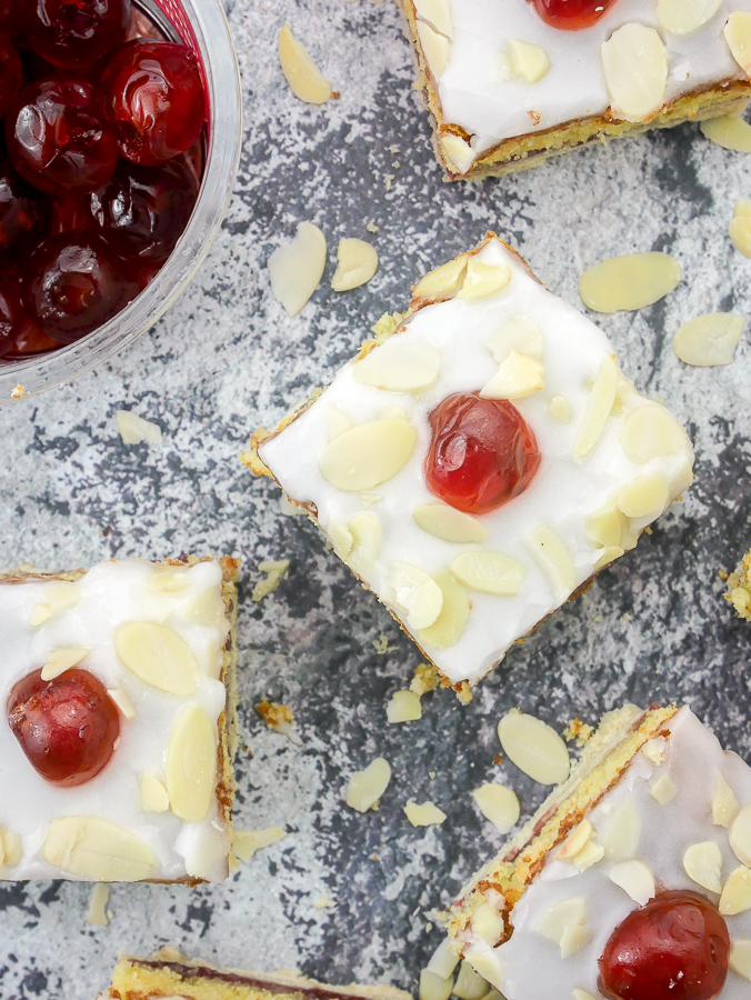Cherry Bakewell Slices recipe   What Charlotte Baked