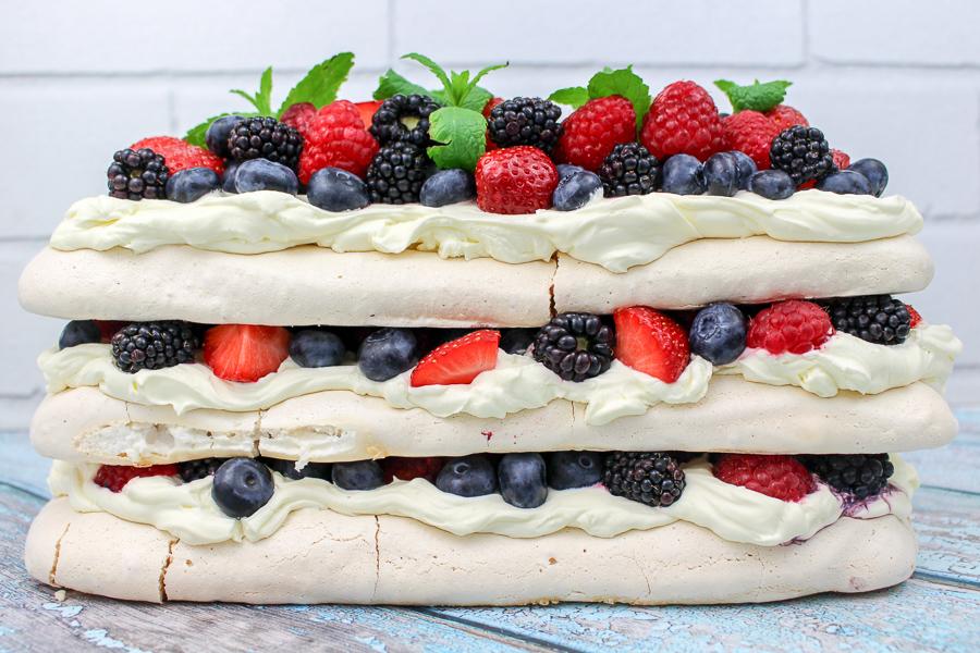 Summer Berries Pavlova with Elderflower Cream recipe   What Charlotte Baked