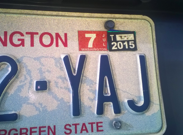 wa license plate and tabs