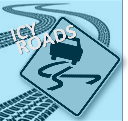icy roads stock photo