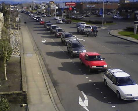 traffic westbound on Main Street 2016-02-16