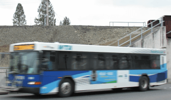 Whatcom Transportation Authority (WTA) bus eastbound on Main Street (March 8, 2017). Photo: Whatcom News