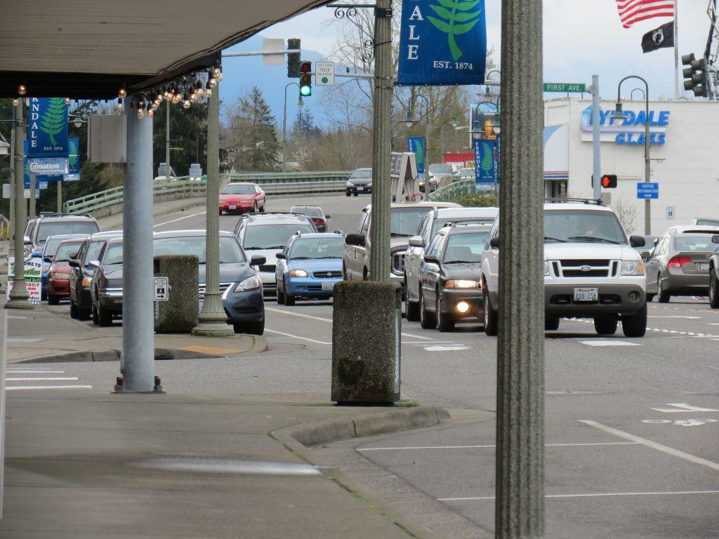 Traffic flows westbound through downtown Ferndale (April 12, 2017). Photo: My Ferndale News