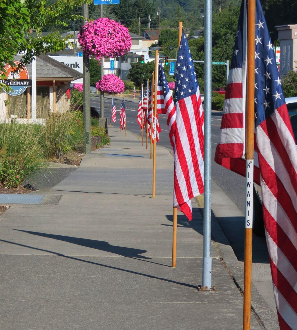 kiwanis american flag main street independence day 2017