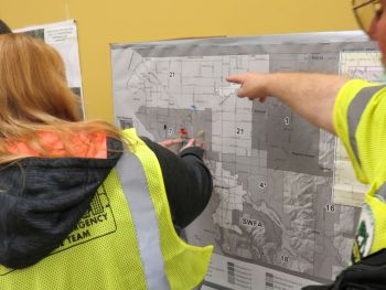 CERT members use maps to indicate member locations