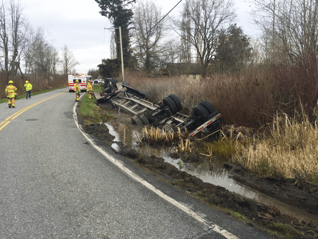 semi truck rollover on hovander road 2018-04-03 photo wcfd7