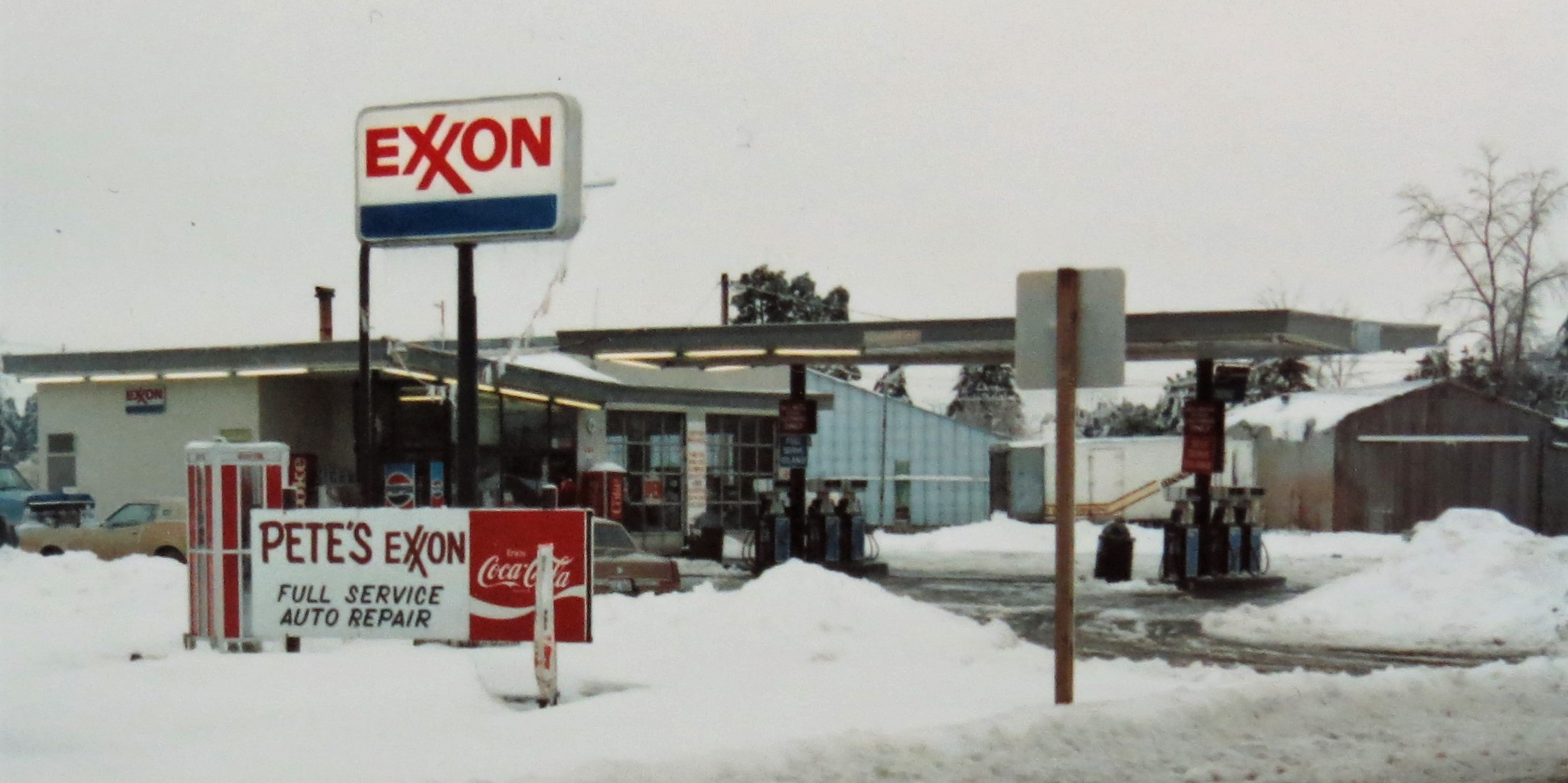 Pete's Exxon service station in the middle of a snowstorm much like the one Pete Harksell, Sr. experienced when taking over the station on January 1, 1969. Photo courtesy of Pete, Jr. and Nita Harksell