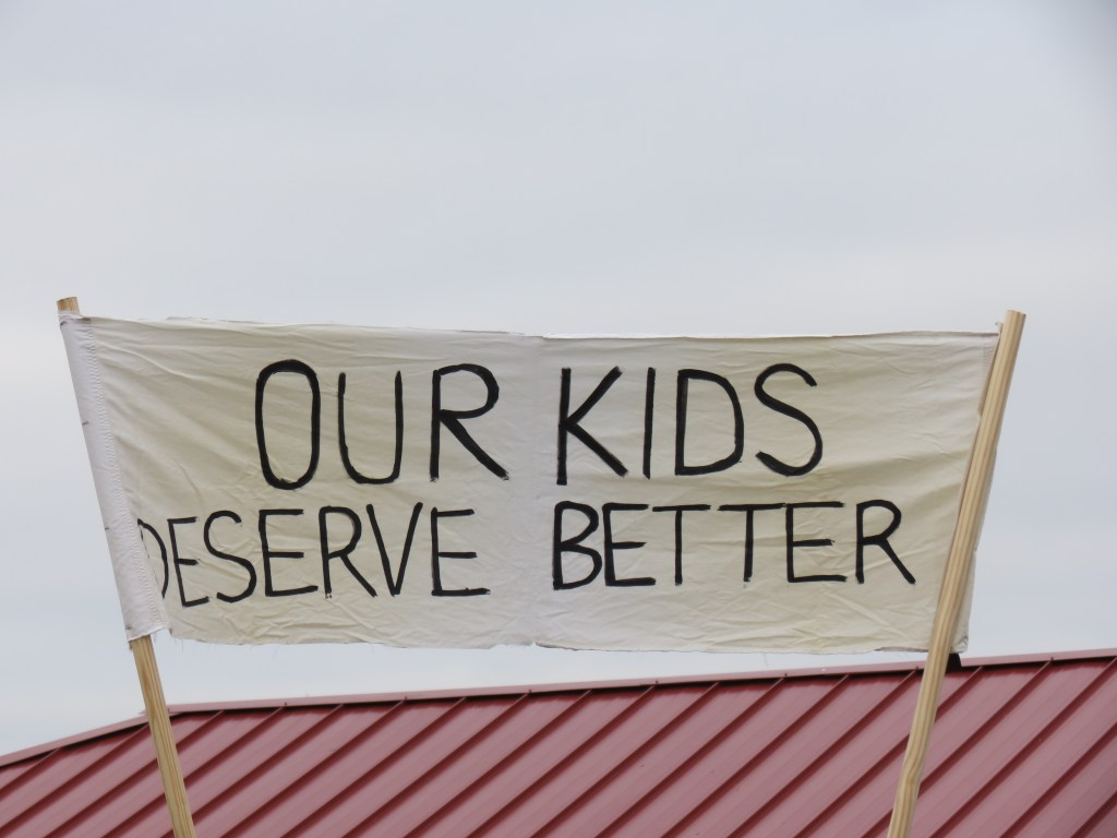 One of the more visible signs at a School bond proposal support rally at Pioneer Park (January 26, 2019). Photo: My Ferndale News