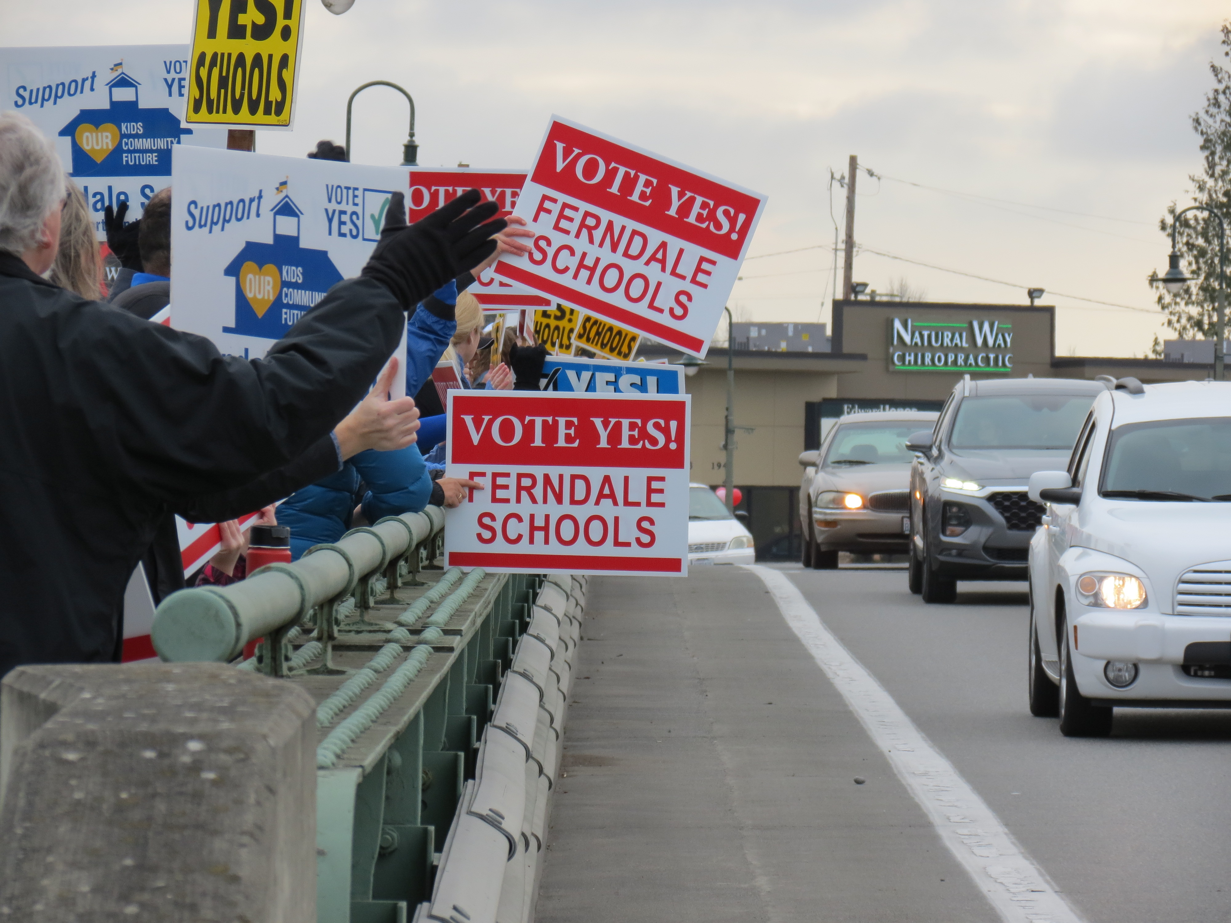 School bond proposal supporters gathered on the Main Street Pioneer Bridge after a rally at Pioneer Park (January 26, 2019). Photo: My Ferndale News