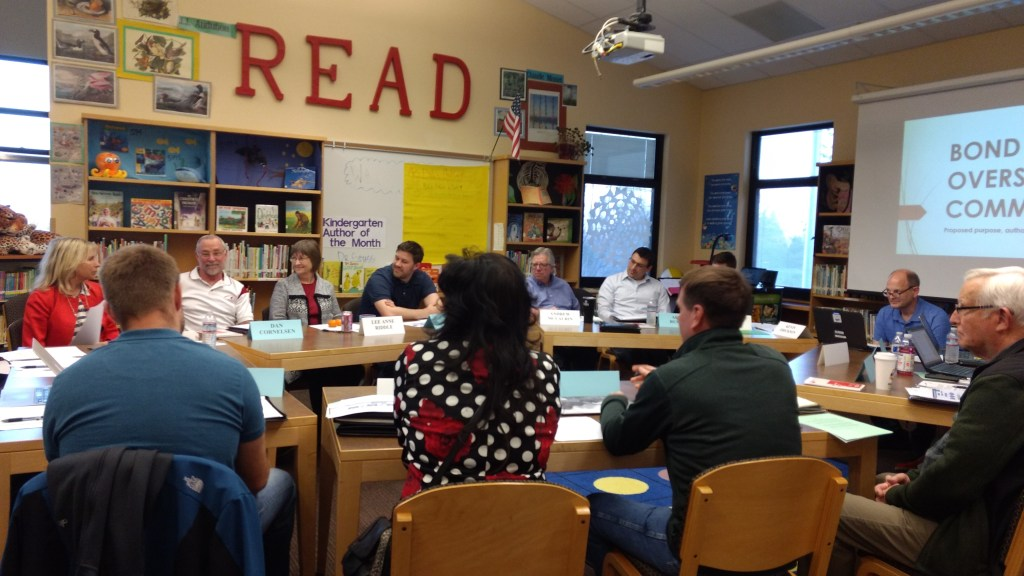 Members of the Bond Oversight Committee met with Ferndale School Board directors at the Cascadia Elementary School library (March 20, 2019). Photo: My Ferndale News