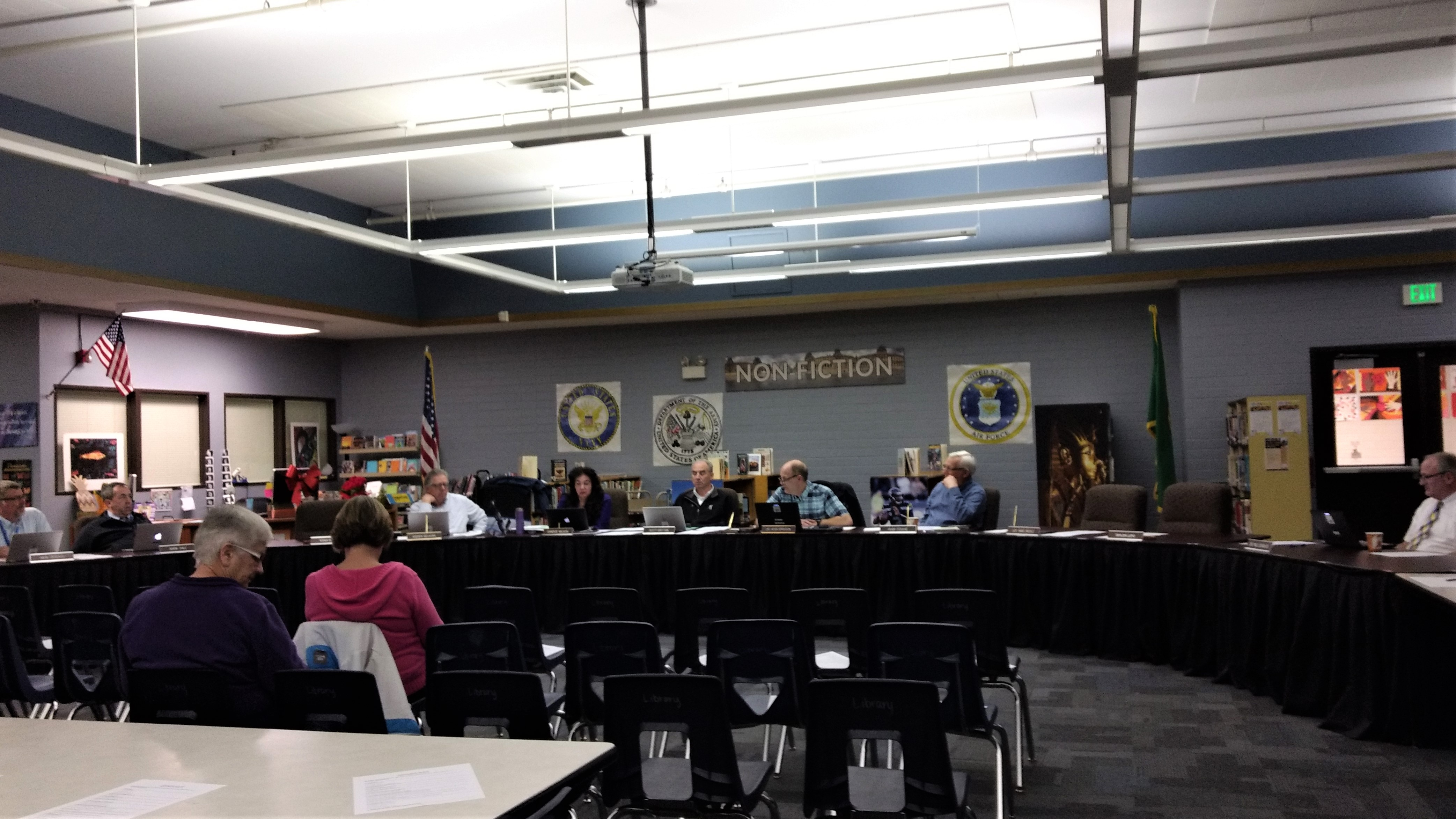 Board members and guests at a regular meeting of the Ferndale School Board (March 26, 2019). Photo: My Ferndale News