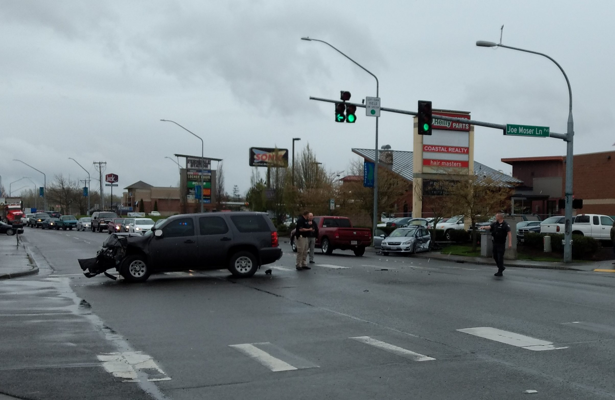 Scene of an officer-involved crash on Main Street (April 11, 2019). Photo: My Ferndale News