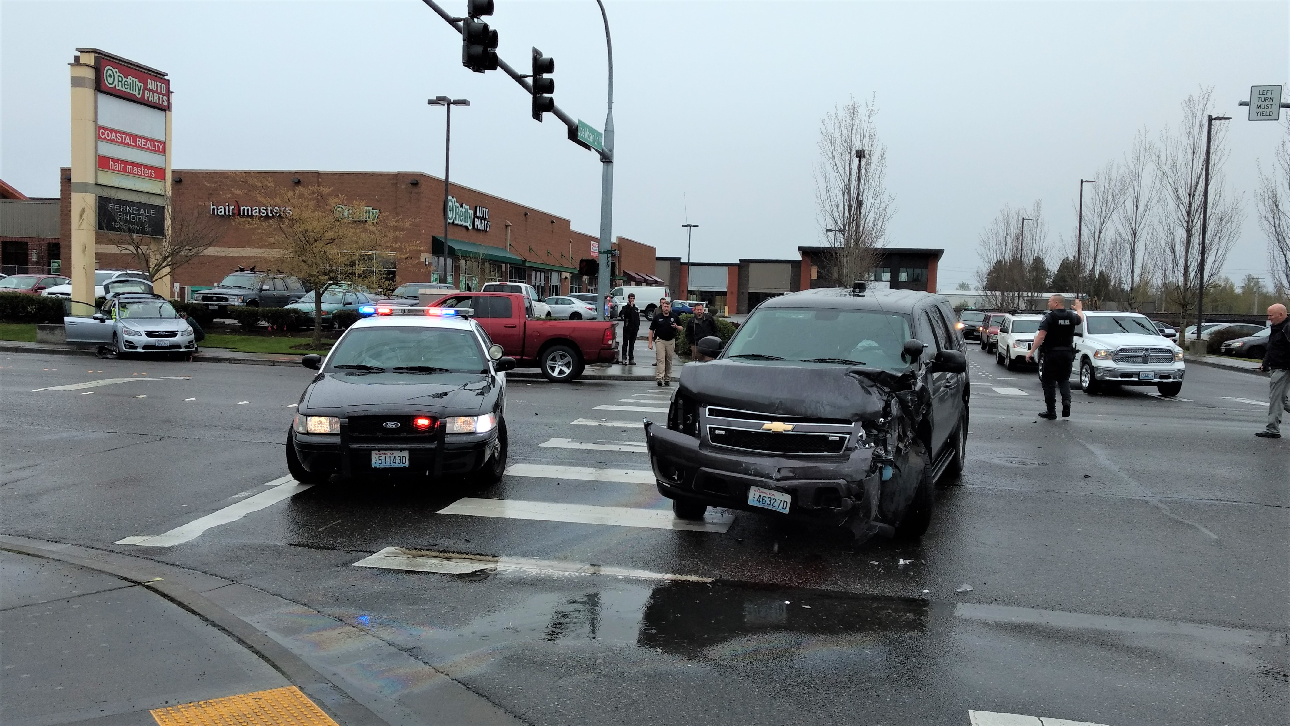 Scene of a police-involved crash on Main Street (April 11, 2019). Photo: My Ferndale News