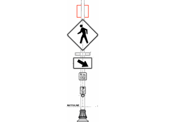 A rectangular rapid flash beacon (RRFB) system mounted on a light pole. City of Ferndale graphic.