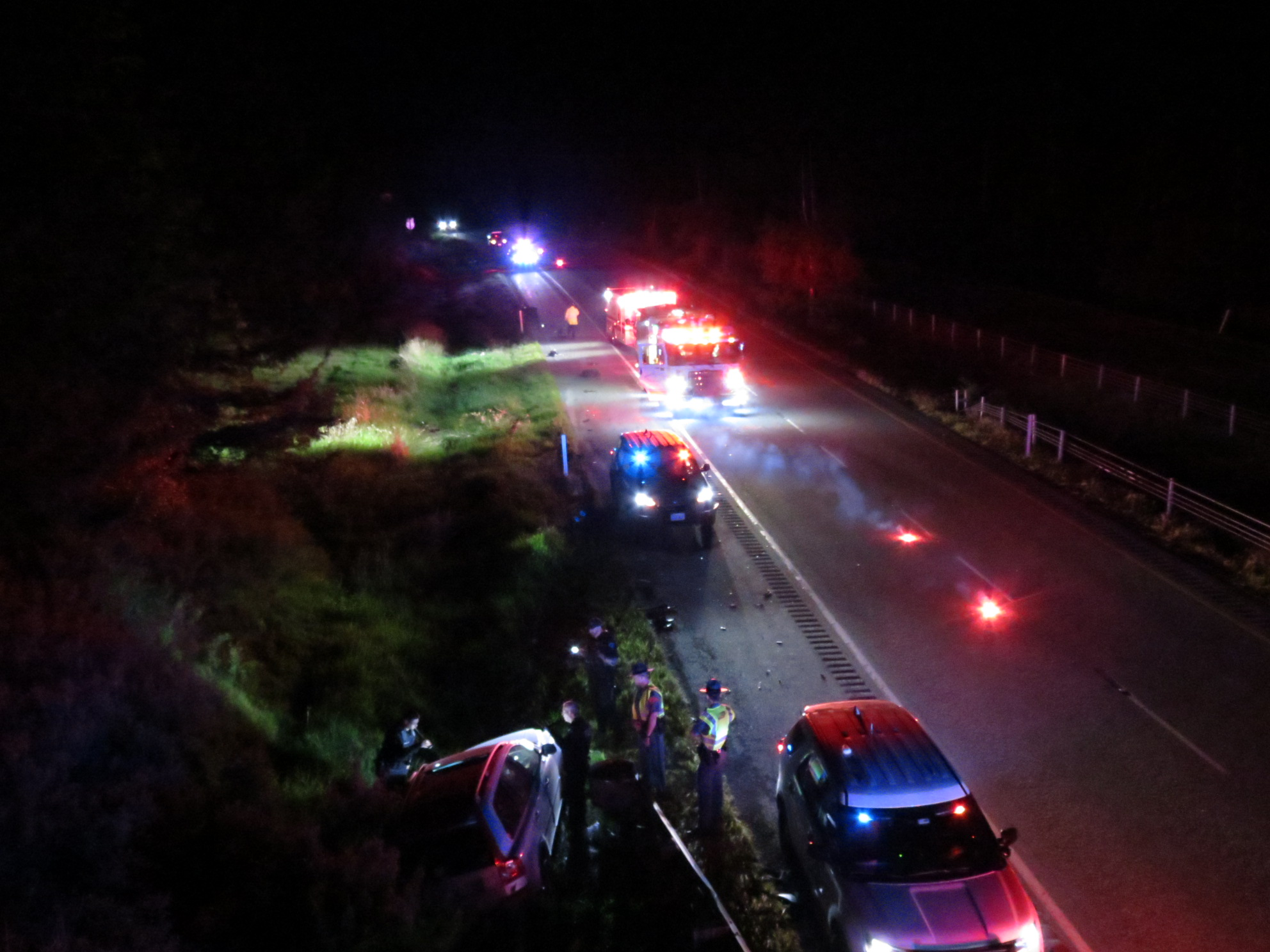 Scene of a 2-vehicle crash southbound on I-5 south of the Grandview Road interchange and the Portal Way overpass (May 6, 2019). Photo: My Ferndale News