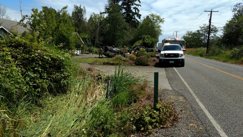 A debris path extended from a ditch alongside the road to where the wreckage came to rest in a resident's front yard (June 24, 2019). Photo: My Ferndale News