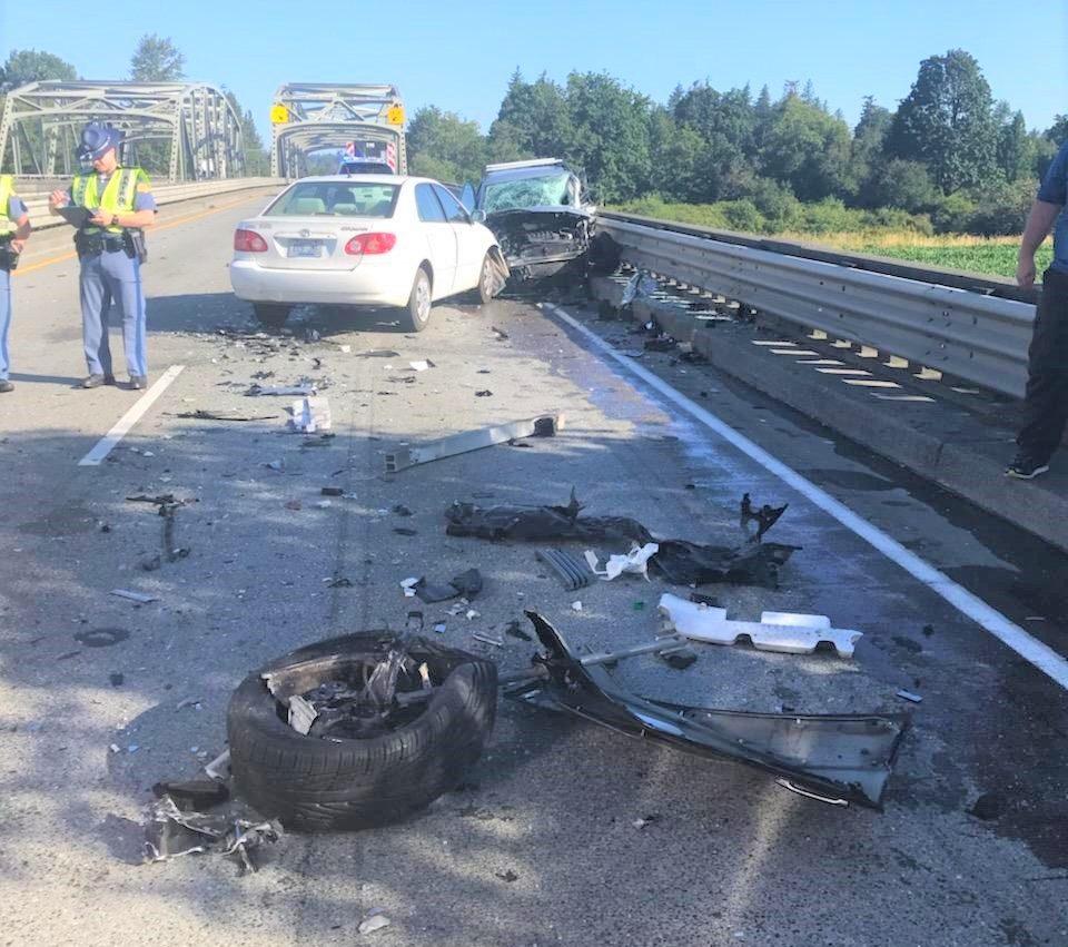 Scene of a crash on I-5 (July 21, 2019) Photo courtesy of WCFD7