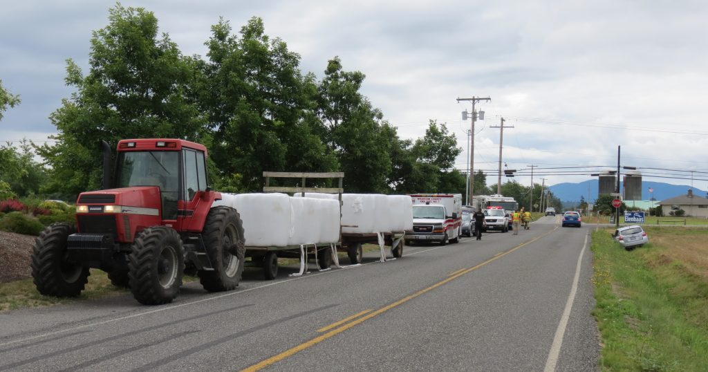 Scene of a collision between a Subaru Impreza and a farm tractor on Olson Road (July 11th, 2019). Photo: My Ferndale News