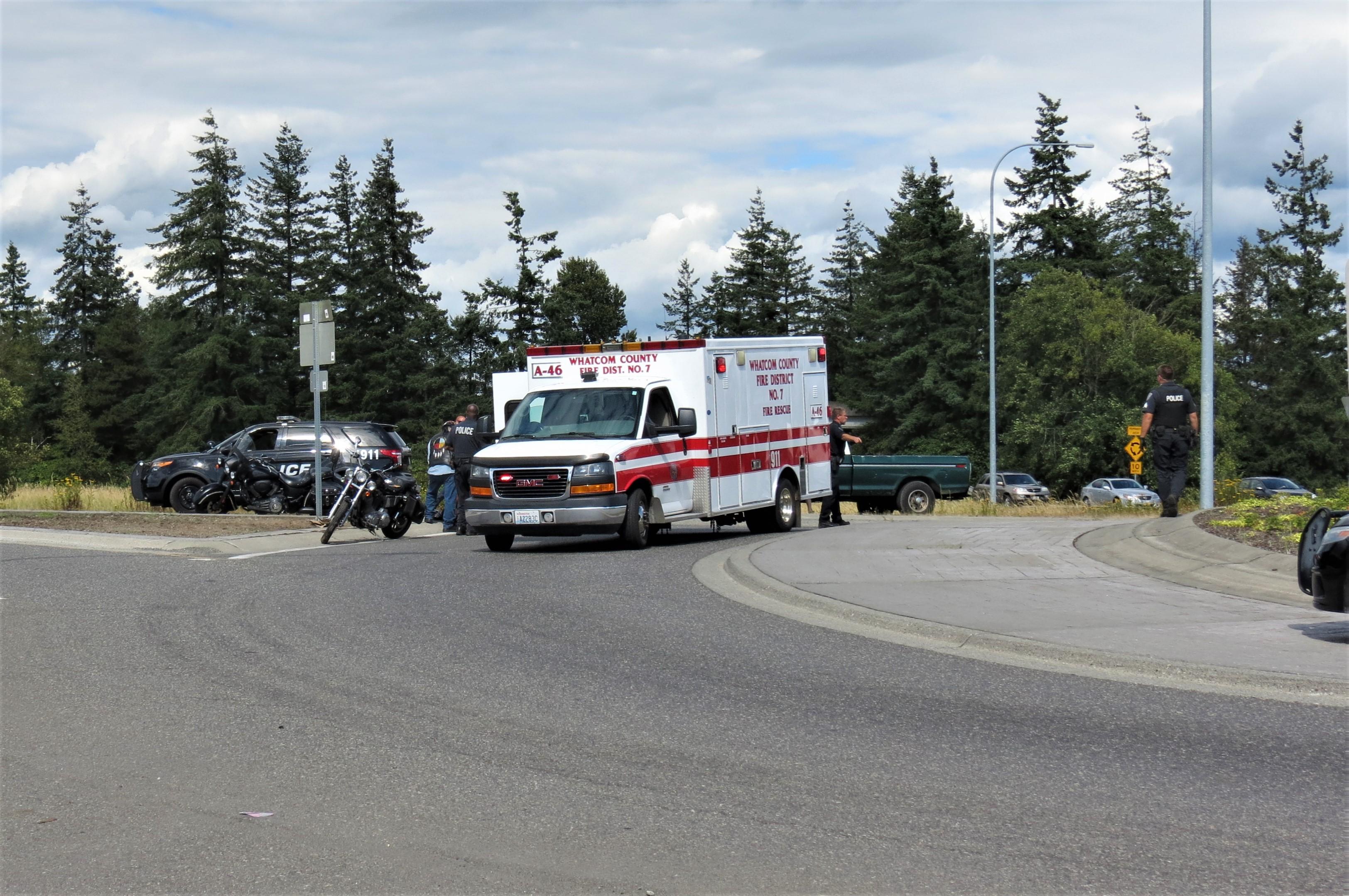 Scene of motorcycle crash at Portal Way roundabout (July 27, 2019). Photo: My Ferndale News