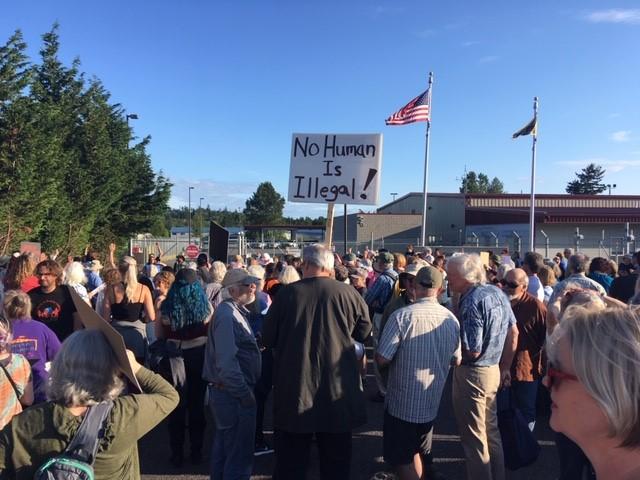 Vigil at Ferndale Border Patrol Station (July 12, 2019). Photo: Mike Hiestand