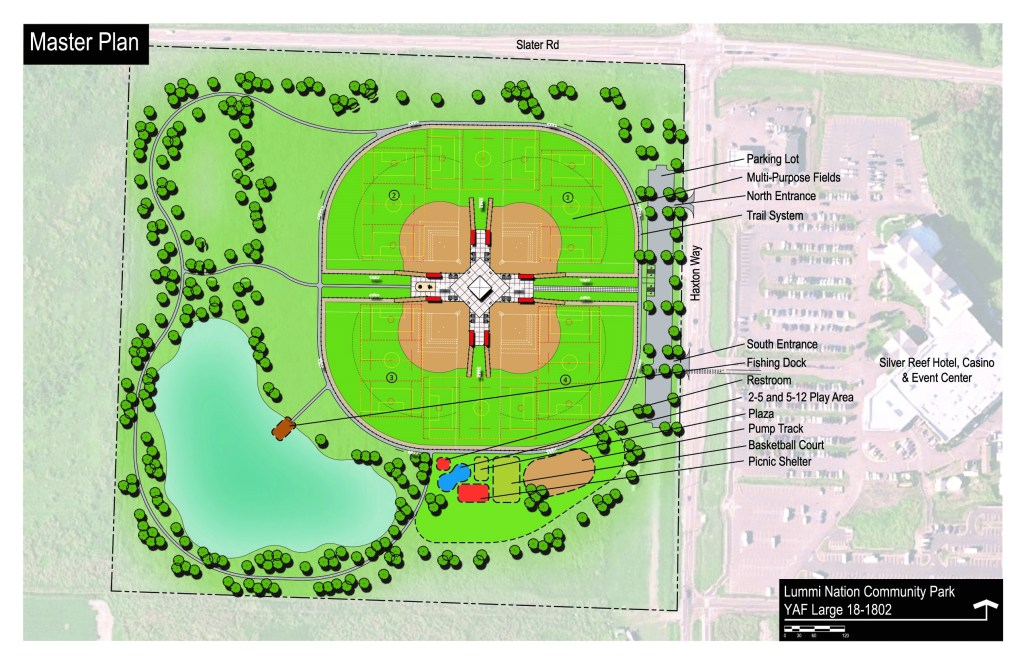Plan for the complete Lummi Nation Community Park as submitted to the WA State Recreation and Conservation Office (RCO). Source: RCO