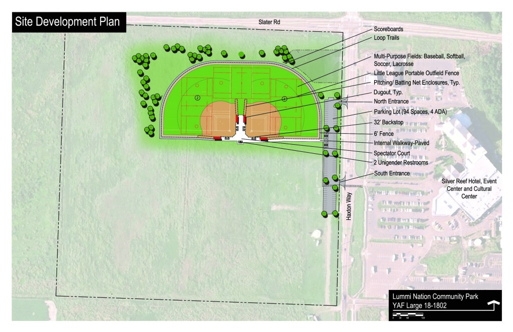 Plan for Phase I of the Lummi Nation Community Park as submitted to the WA State Recreation and Conservation Office (RCO). Source: RCO