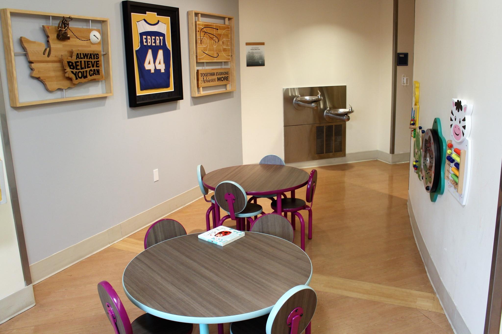 Entertainment zone at PeaceHealth St Joseph Medical Center ER waiting area (2019). Photo courtesy of PeaceHealth