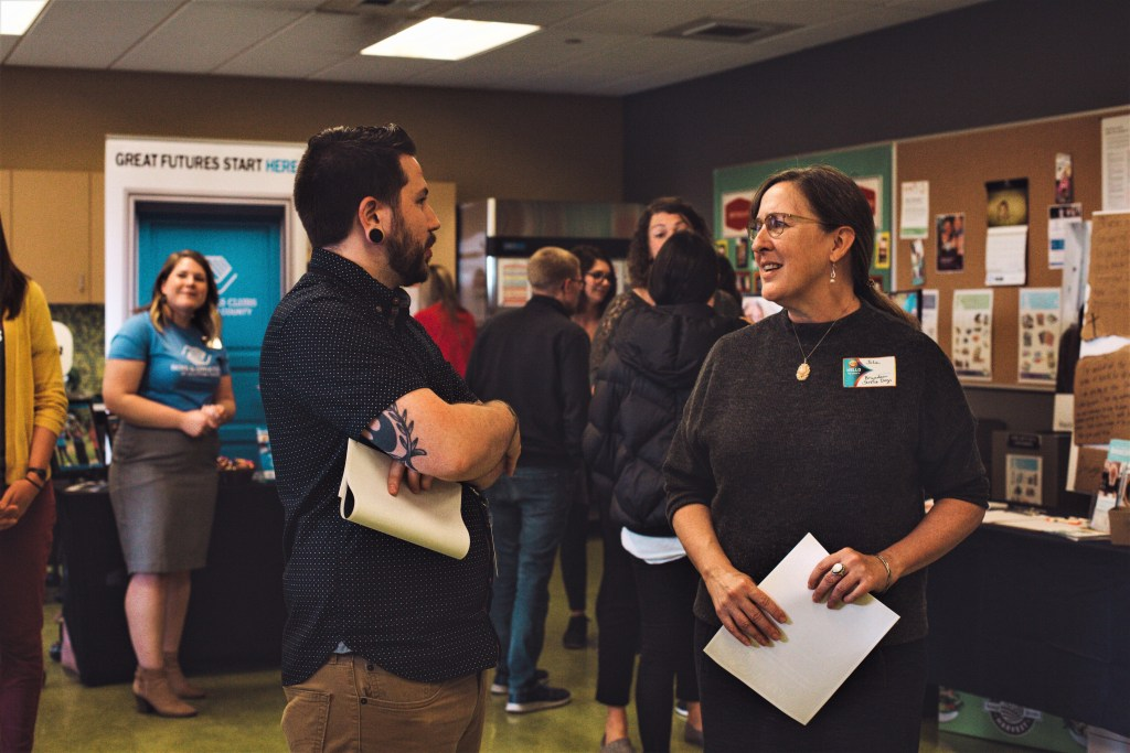 Superfeet employees mingle with local charities during the company's 2019 Giving Fair (September 26, 2019). Photo courtesy of Superfeet.